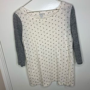 J Crew gray and cream polka dot linen T-shirt
